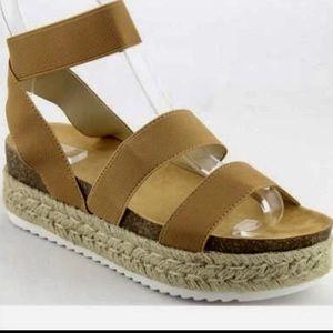 Shoes - Tan Espadrille Flatform Sandal